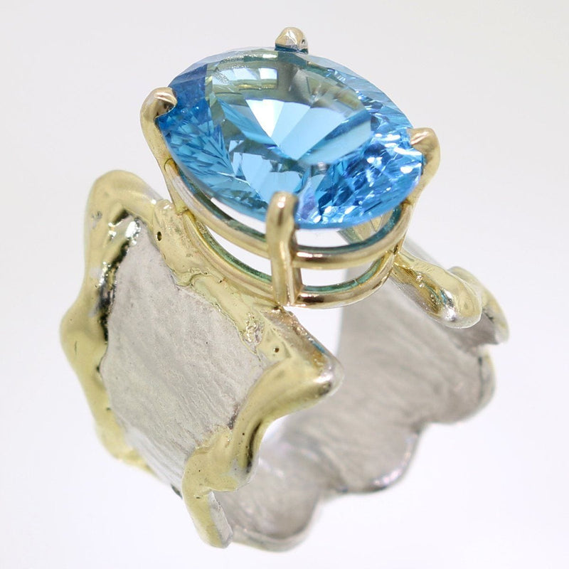 14K Gold & Crystalline Silver Blue Topaz Ring - 31993-Fusion Designs-Renee Taylor Gallery