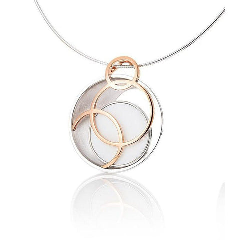 Rose Gold Plated Sterling Silver White Corian Pendant - 32/03202-Breuning-Renee Taylor Gallery