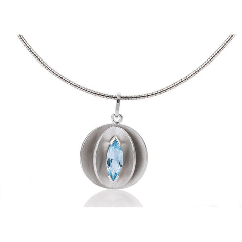 Sterling Silver Blue Topaz Pendant - 32/03240-Breuning-Renee Taylor Gallery