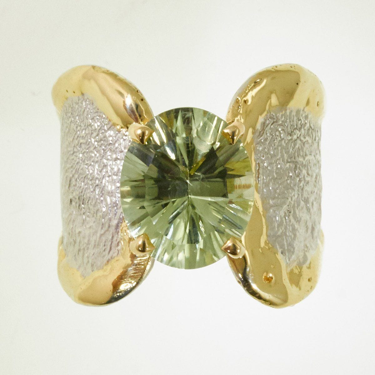 14K Gold & Crystalline Silver Prasiolite Ring - 32851-Fusion Designs-Renee Taylor Gallery