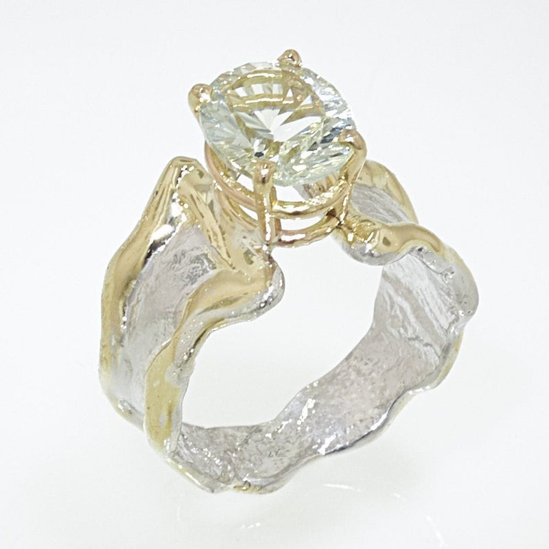14K Gold & Crystalline Silver Prasiolite Ring - 32852-Fusion Designs-Renee Taylor Gallery