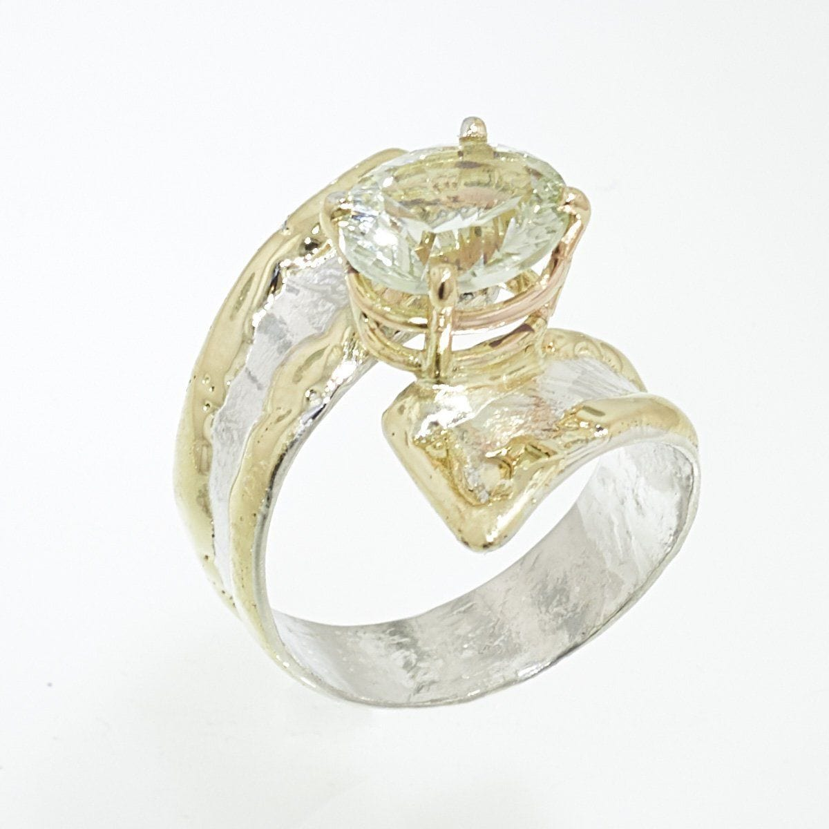 14K Gold & Crystalline Silver Prasiolite Ring - 32853-Fusion Designs-Renee Taylor Gallery