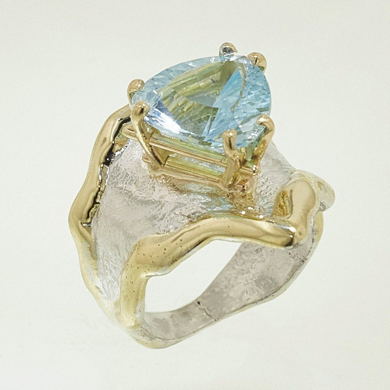 14K Gold & Crystalline Silver Sky Blue Topaz Ring - 32857-Fusion Designs-Renee Taylor Gallery