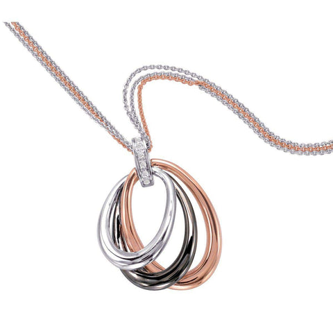 Rose Gold Plated Sterling Silver White Sapphire Pendant - 32/85727-Breuning-Renee Taylor Gallery