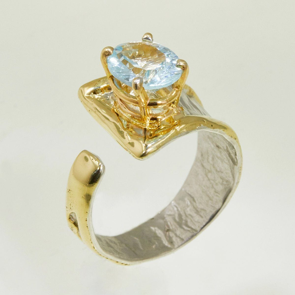 14K Gold & Crystalline Silver Sky Blue Topaz Ring - 32860-Fusion Designs-Renee Taylor Gallery
