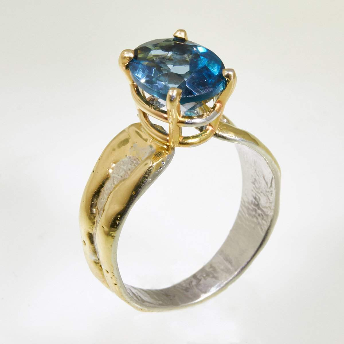 14K Gold & Crystalline Silver London Blue Topaz Ring - 32862-Fusion Designs-Renee Taylor Gallery
