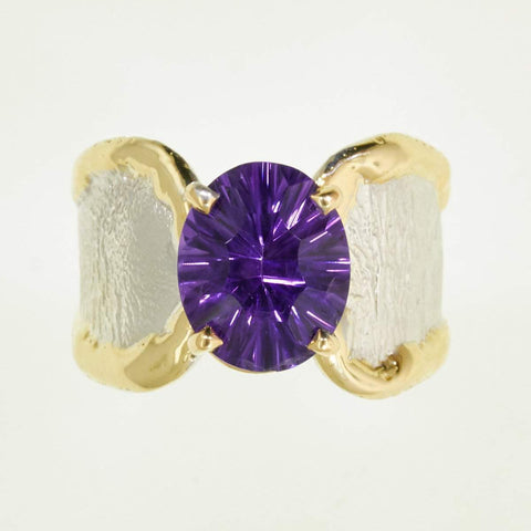 14K Gold & Crystalline Silver Amethyst Ring - 32866-Fusion Designs-Renee Taylor Gallery