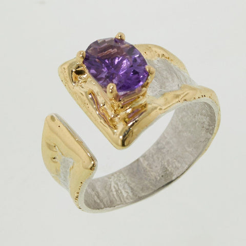 14K Gold & Crystalline Silver Amethyst Ring - 32867-Fusion Designs-Renee Taylor Gallery