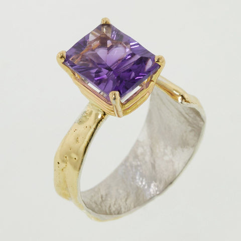 14K Gold & Crystalline Silver Amethyst Ring - 32868-Fusion Designs-Renee Taylor Gallery