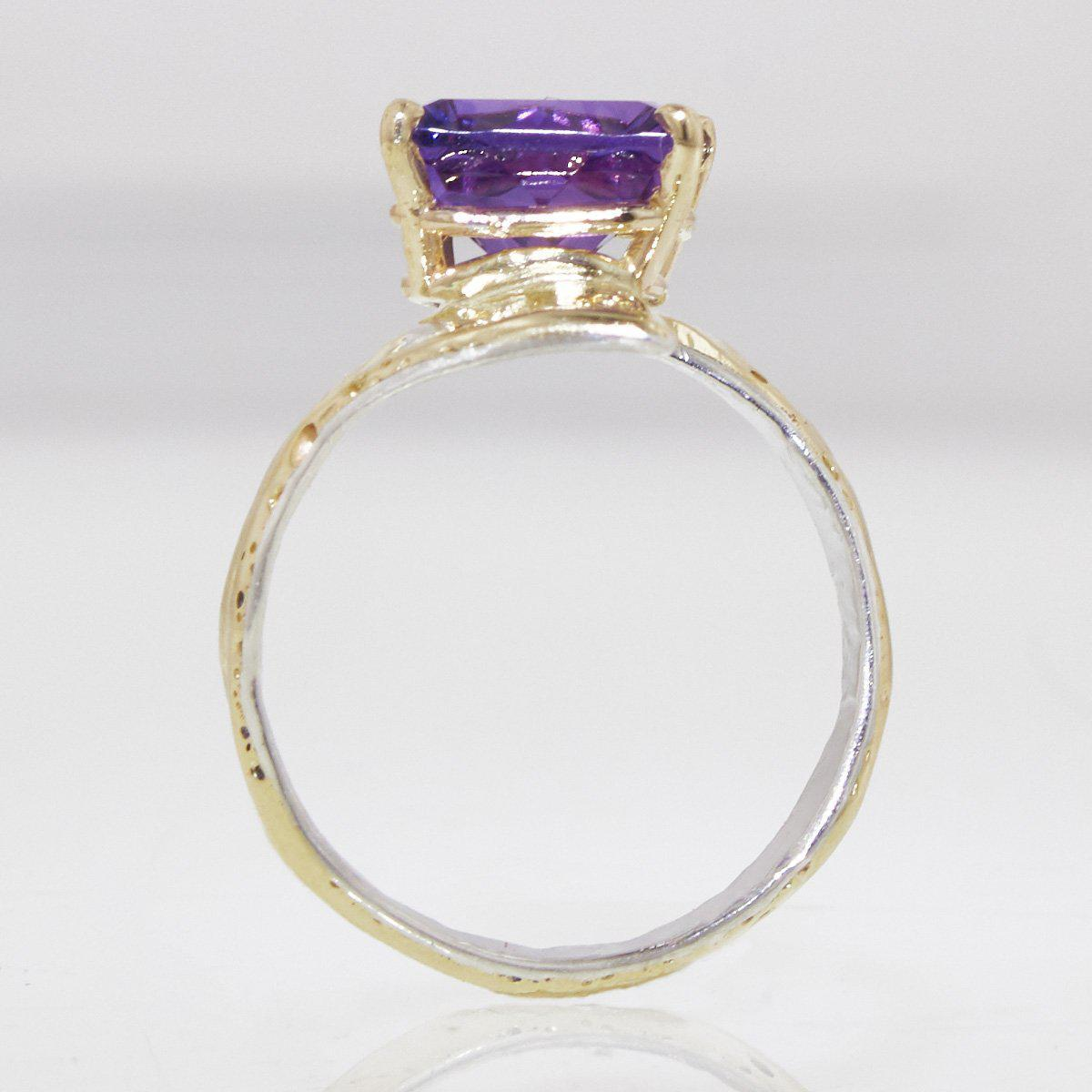 14K Gold & Crystalline Silver Amethyst Ring - 32870-Fusion Designs-Renee Taylor Gallery