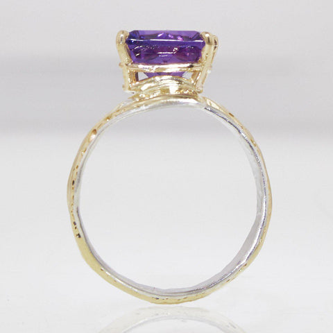 14K Gold & Crystalline Silver Amethyst Ring - 32870 - Fusion Designs