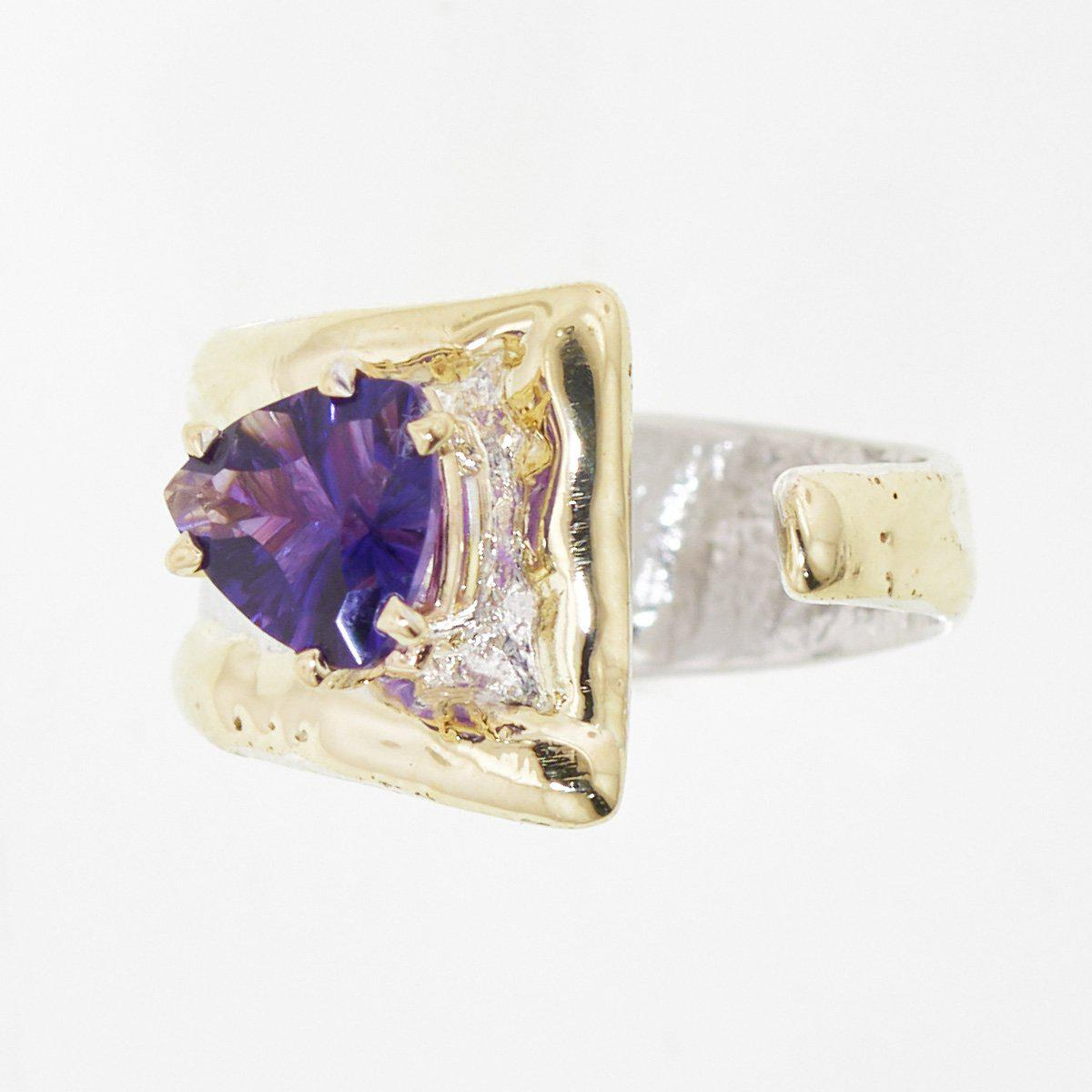 14K Gold & Crystalline Silver Amethyst Ring - 32871-Fusion Designs-Renee Taylor Gallery