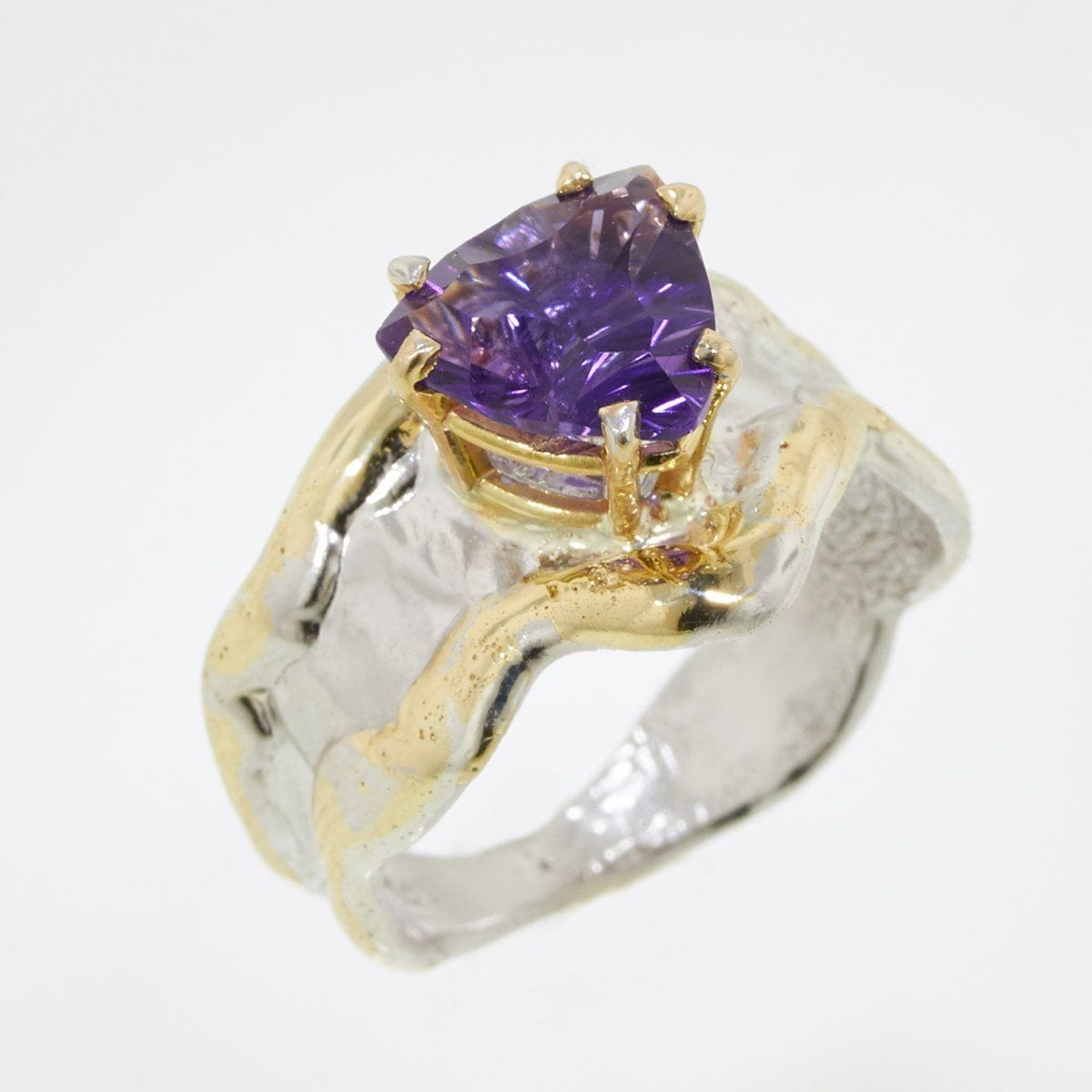 14K Gold & Crystalline Silver Amethyst Ring - 32872-Fusion Designs-Renee Taylor Gallery