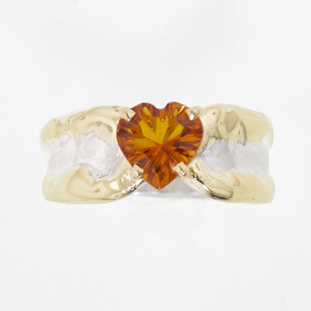 14K Gold & Crystalline Silver Citrine Heart Ring - 32878-Fusion Designs-Renee Taylor Gallery