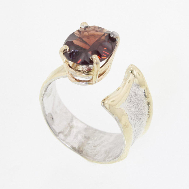 14K Gold & Crystalline Silver Garnet Ring - 32879-Fusion Designs-Renee Taylor Gallery