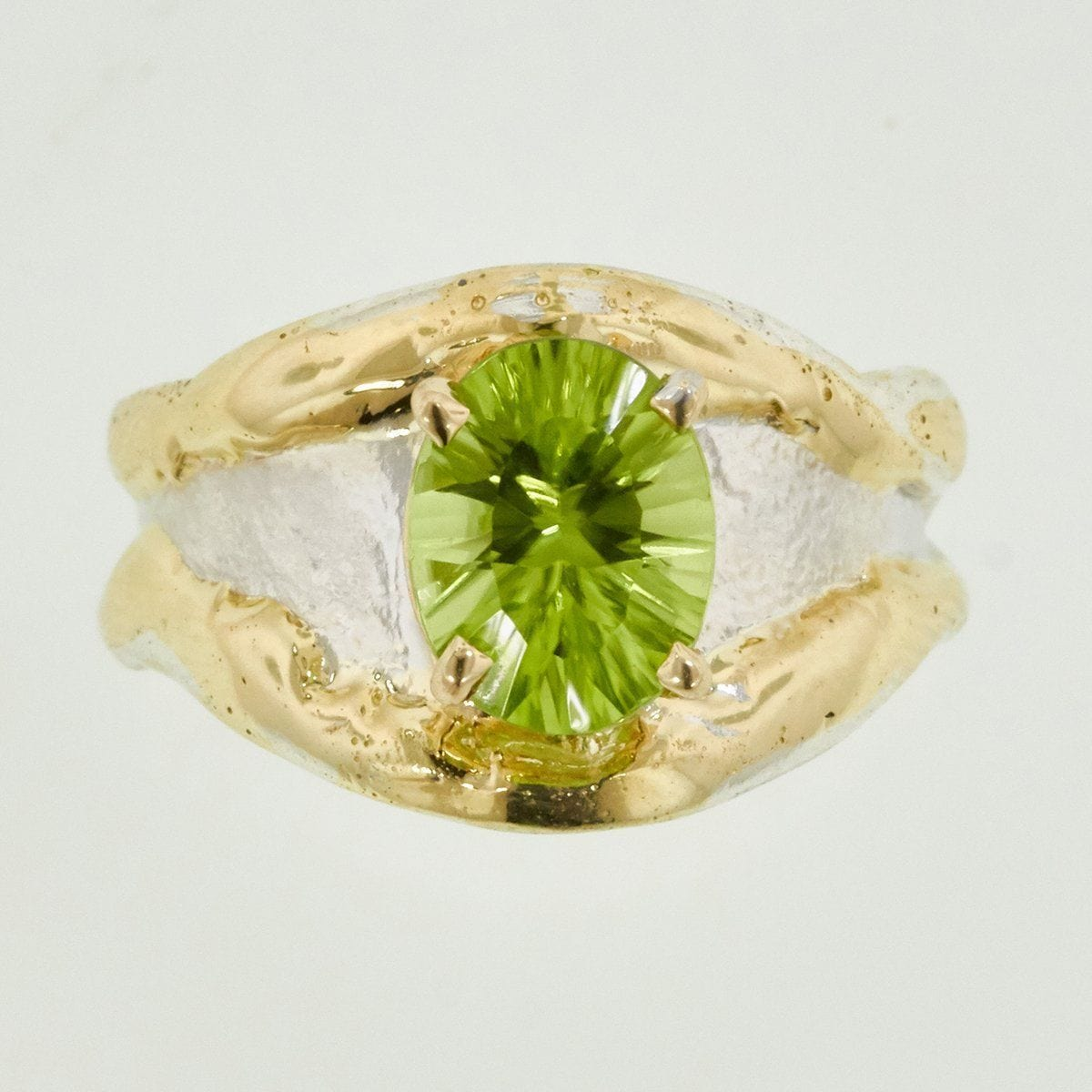 14K Gold & Crystalline Silver Peridot Ring - 32883-Fusion Designs-Renee Taylor Gallery
