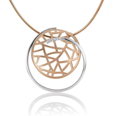 Rose Gold Plated Sterling Silver White Sapphire Pendant - 32/03227-Breuning-Renee Taylor Gallery