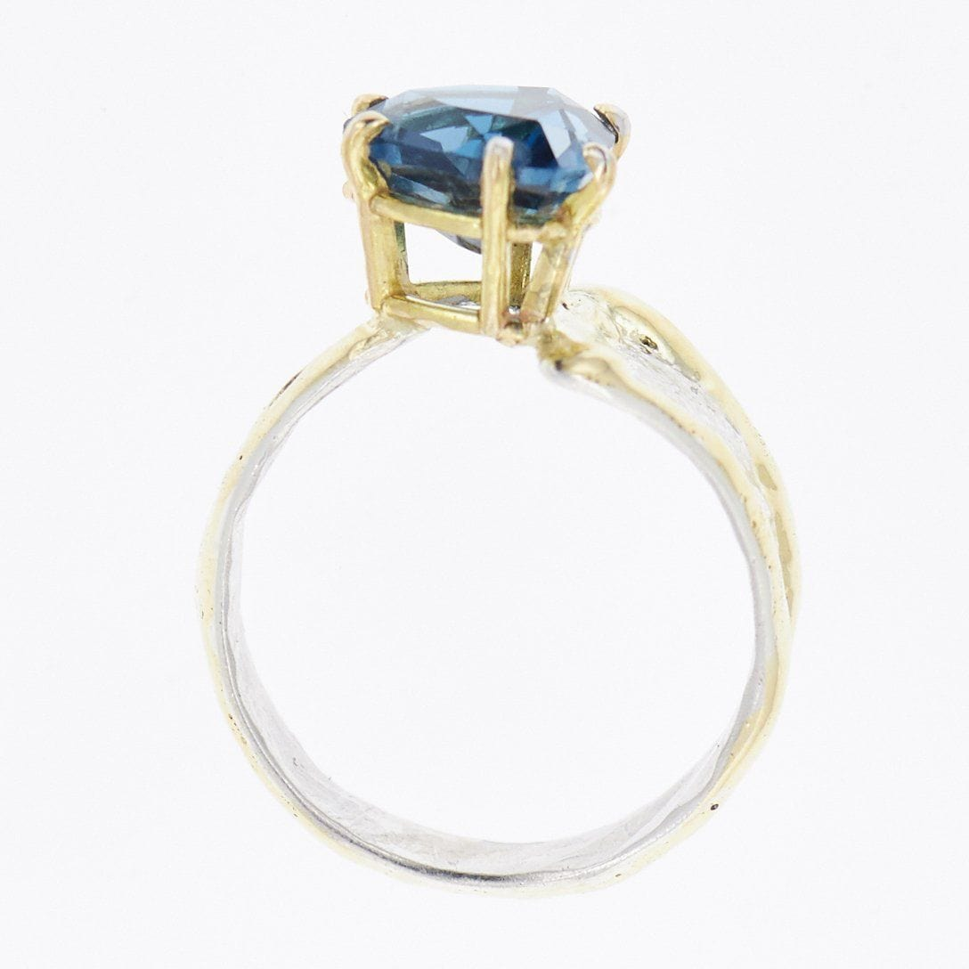 14K Gold & Crystalline Silver London Blue Topaz Ring - 33259-Fusion Designs-Renee Taylor Gallery
