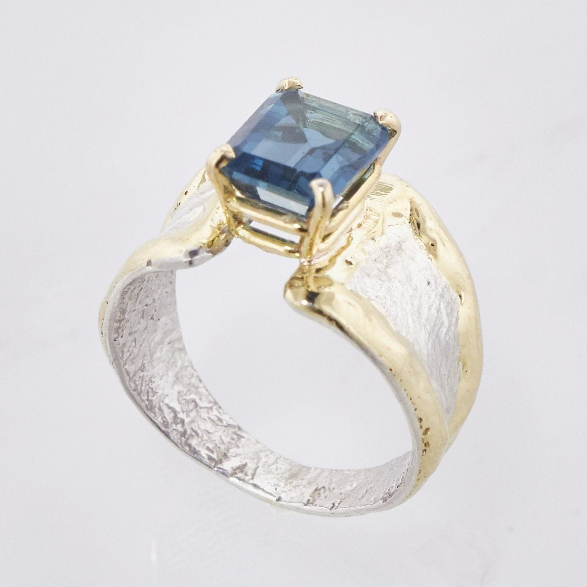 14K Gold & Crystalline Silver London Blue Topaz Ring - 33260-Fusion Designs-Renee Taylor Gallery