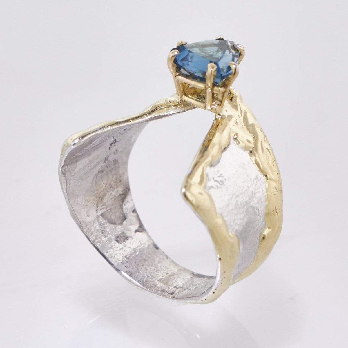 14K Gold & Crystalline Silver London Blue Topaz Ring - 33261-Fusion Designs-Renee Taylor Gallery