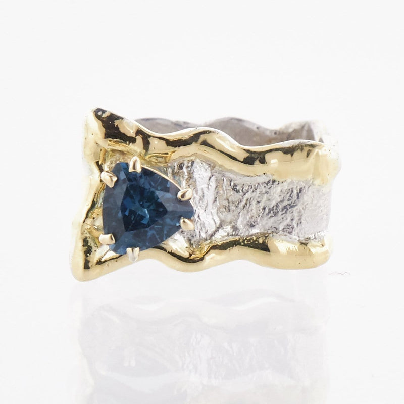 14K Gold & Crystalline Silver London Blue Topaz Ring - 33262-Fusion Designs-Renee Taylor Gallery