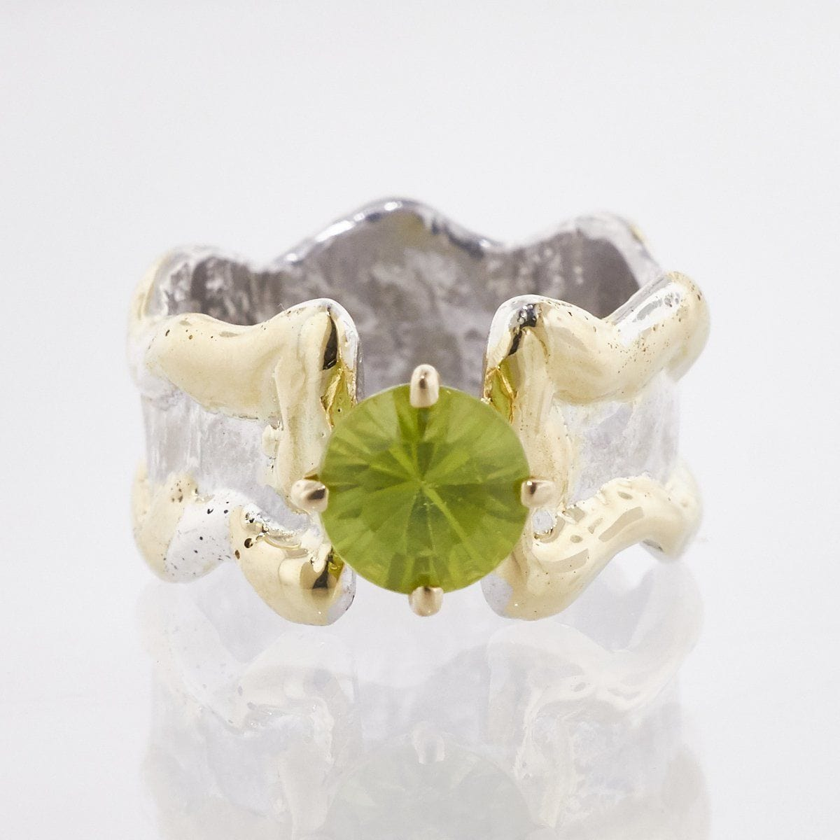 Crystalline Silvers: 14K Gold & Crystalline Silver Peridot Ring