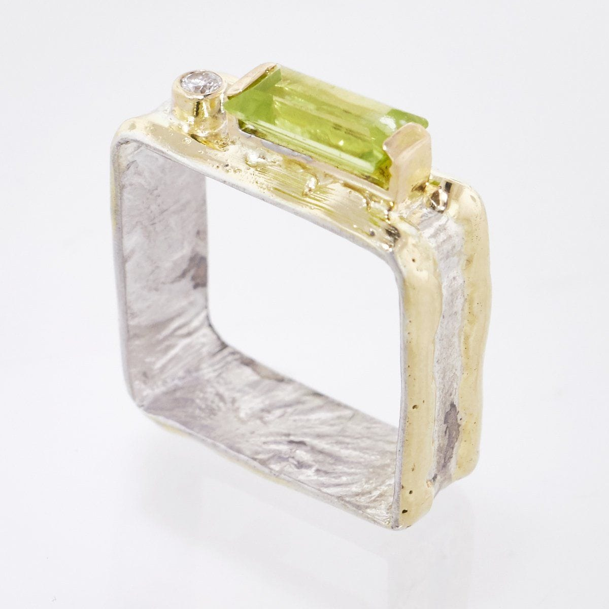 14K Gold & Crystalline Silver Peridot & Diamond Ring - 33264-Fusion Designs-Renee Taylor Gallery