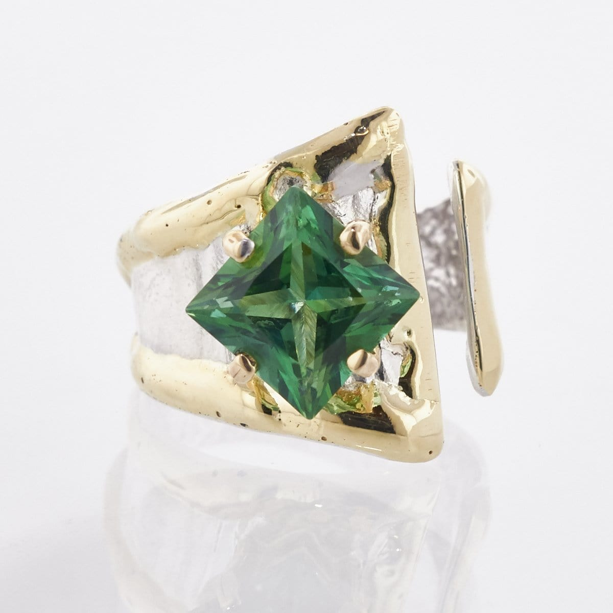 14K Gold & Crystalline Silver Rainforest Green Topaz Ring - 33266-Fusion Designs-Renee Taylor Gallery