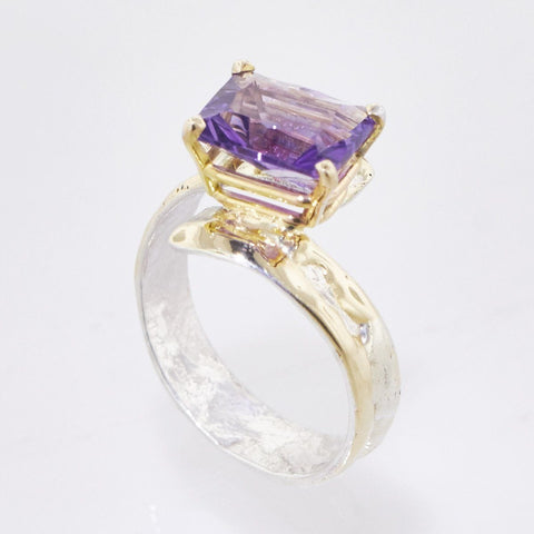 14K Gold & Crystalline Silver Amethyst Ring - 33267-Fusion Designs-Renee Taylor Gallery