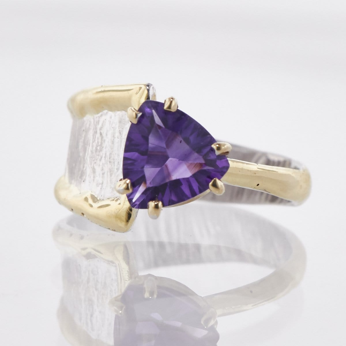 14K Gold & Crystalline Silver Amethyst Ring - 33268-Fusion Designs-Renee Taylor Gallery
