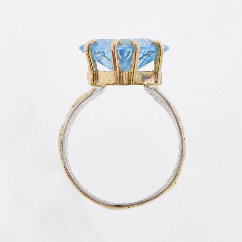 14K Gold & Crystalline Silver Blue Topaz Ring - 33270-Fusion Designs-Renee Taylor Gallery