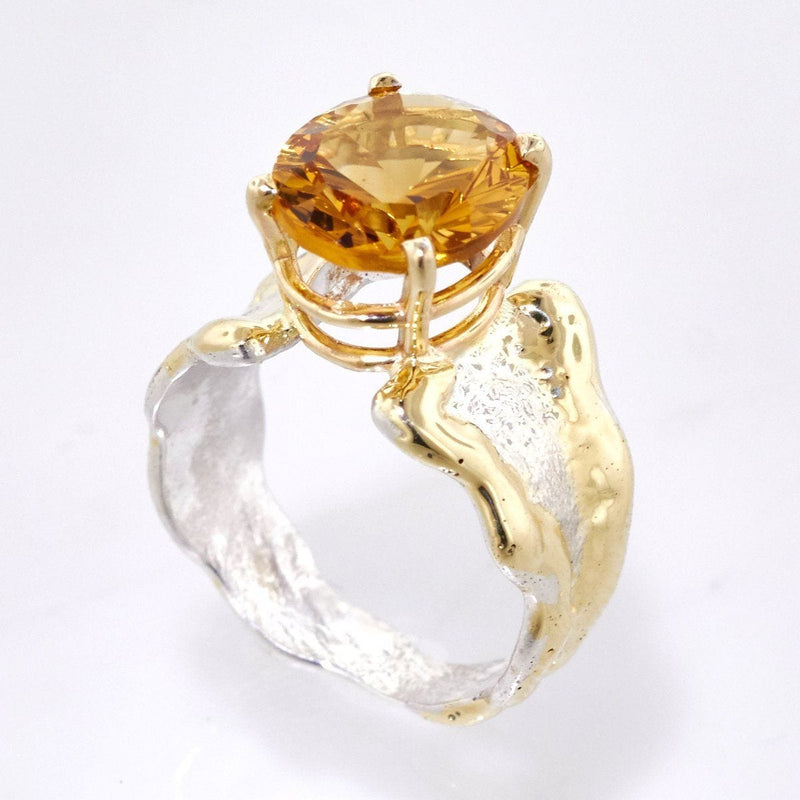 14K Gold & Crystalline Silver Citrine Ring - 33271-Fusion Designs-Renee Taylor Gallery