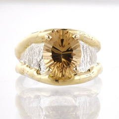14K Gold & Crystalline Silver Champagne Quartz Ring - 33727-Fusion Designs-Renee Taylor Gallery