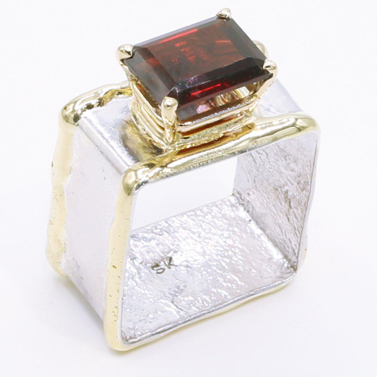 14K Gold & Crystalline Silver Garnet Ring - 34503-Fusion Designs-Renee Taylor Gallery