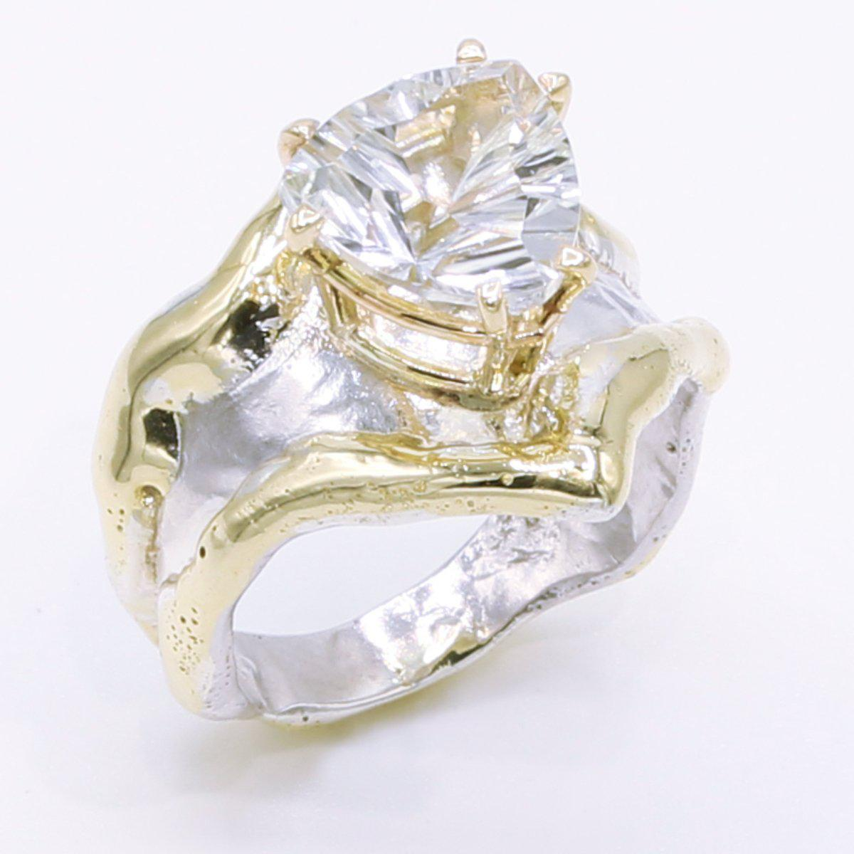 14K Gold & Crystalline Silver White Topaz Ring - 34505-Fusion Designs-Renee Taylor Gallery