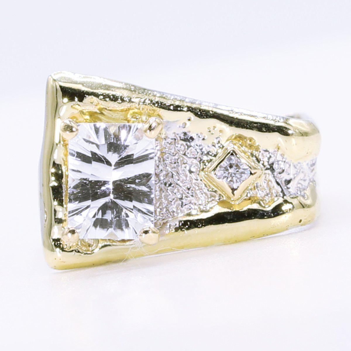 14K Gold & Crystalline Silver White Topaz & Diamond Ring - 34509-Fusion Designs-Renee Taylor Gallery
