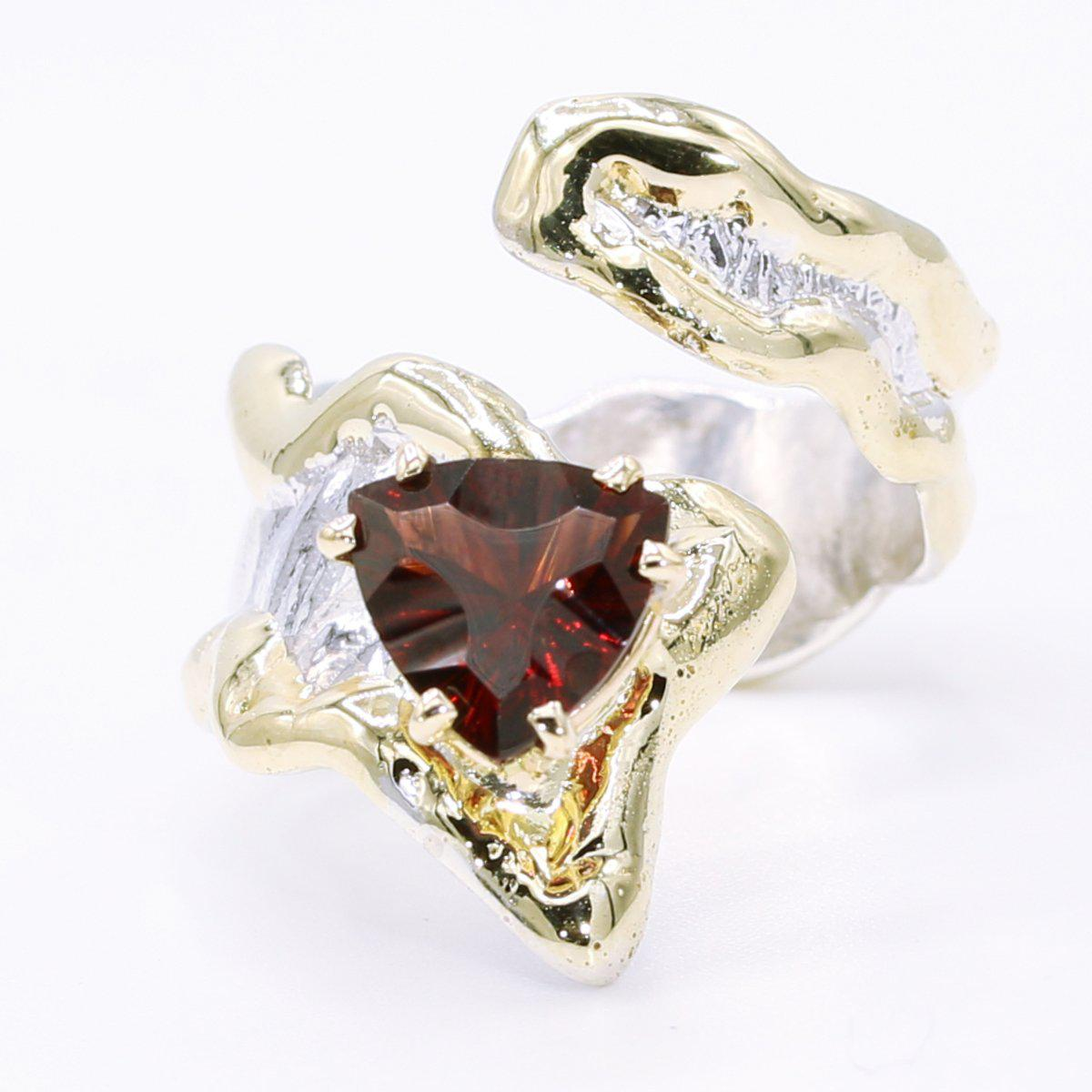 14K Gold & Crystalline Silver Garnet Ring - 34510-Fusion Designs-Renee Taylor Gallery