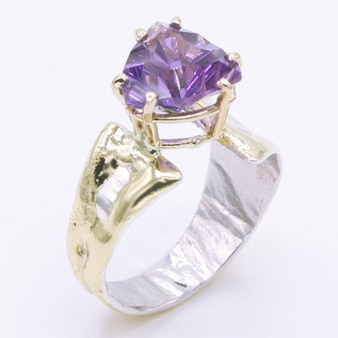 14K Gold & Crystalline Silver Amethyst Ring - 34532-Fusion Designs-Renee Taylor Gallery