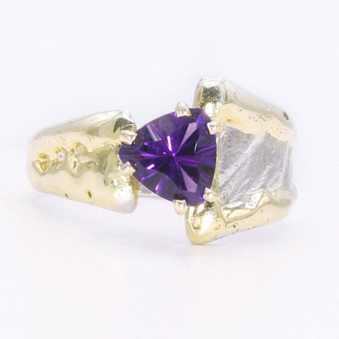 14K Gold & Crystalline Silver Amethyst Ring - 34533-Fusion Designs-Renee Taylor Gallery