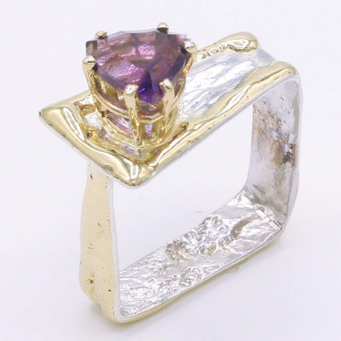 14K Gold & Crystalline Silver Amethyst Ring - 34534-Fusion Designs-Renee Taylor Gallery
