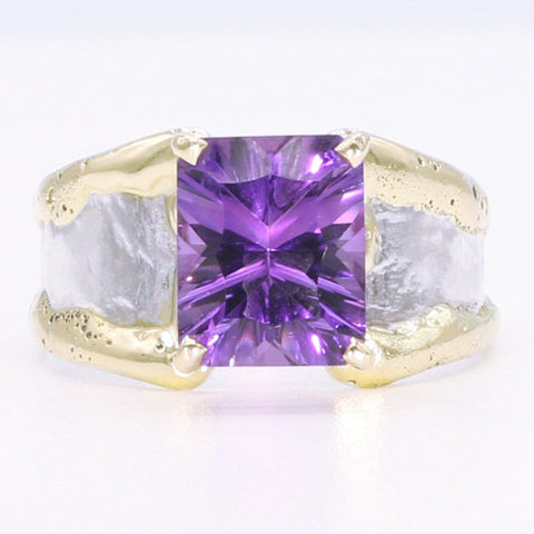 14K Gold & Crystalline Silver Amethyst Ring - 34535-Fusion Designs-Renee Taylor Gallery