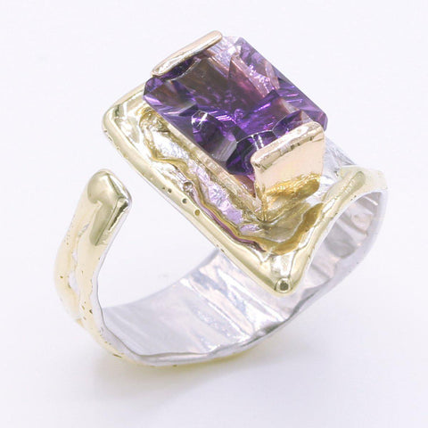 14K Gold & Crystalline Silver Amethyst Ring - 34536-Fusion Designs-Renee Taylor Gallery