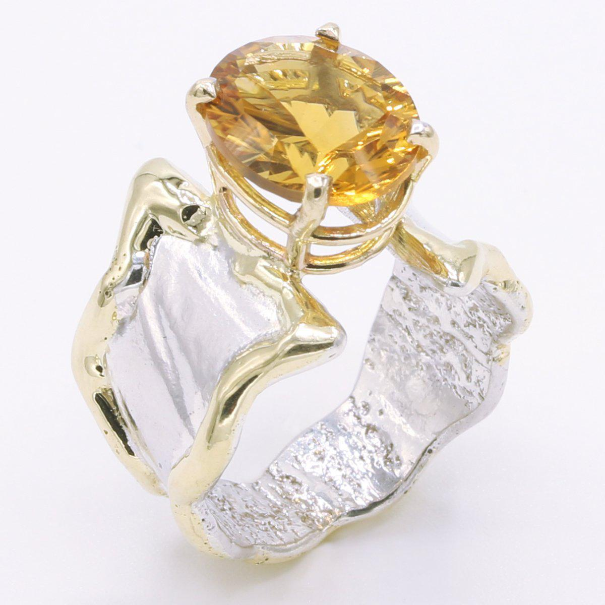 14K Gold & Crystalline Silver Citrine Ring - 34539-Fusion Designs-Renee Taylor Gallery
