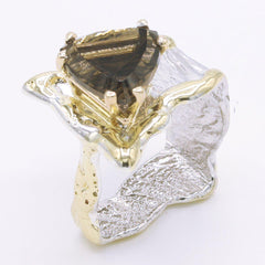 14K Gold & Crystalline Silver Smoky Quartz Ring - 34542-Fusion Designs-Renee Taylor Gallery