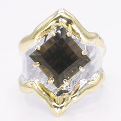 14K Gold & Crystalline Silver Smoky Quartz Ring - 34544-Fusion Designs-Renee Taylor Gallery