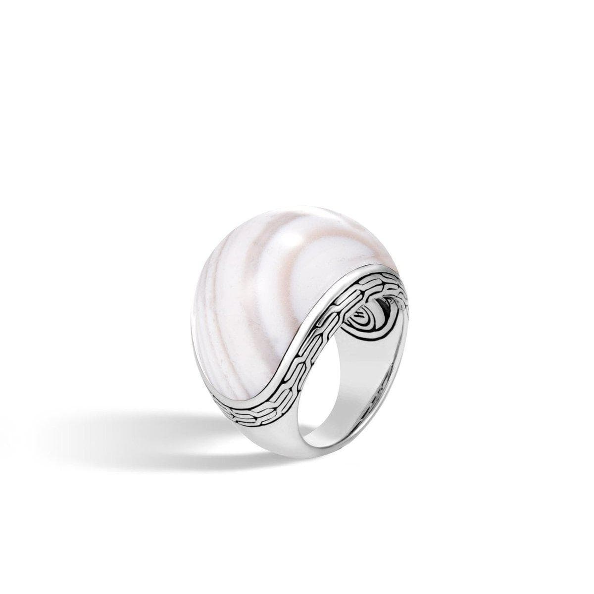 Classic Chain Dome Ring with White Agate - RBS9997371WAG-John Hardy-Renee Taylor Gallery