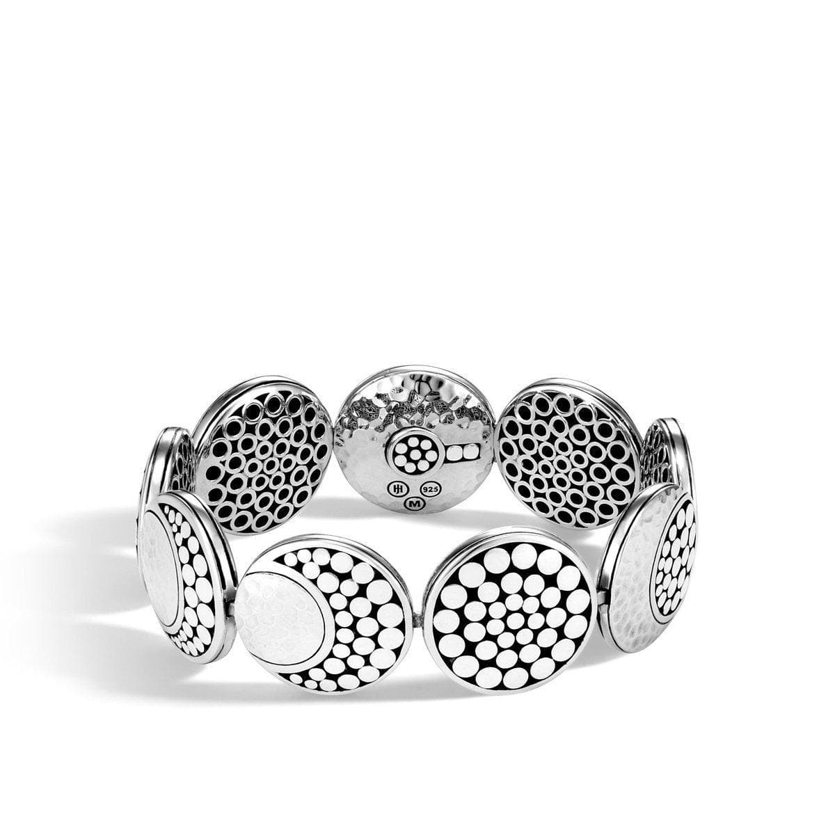 Dot Moon Phase Hammered Link Bracelet - BB30001