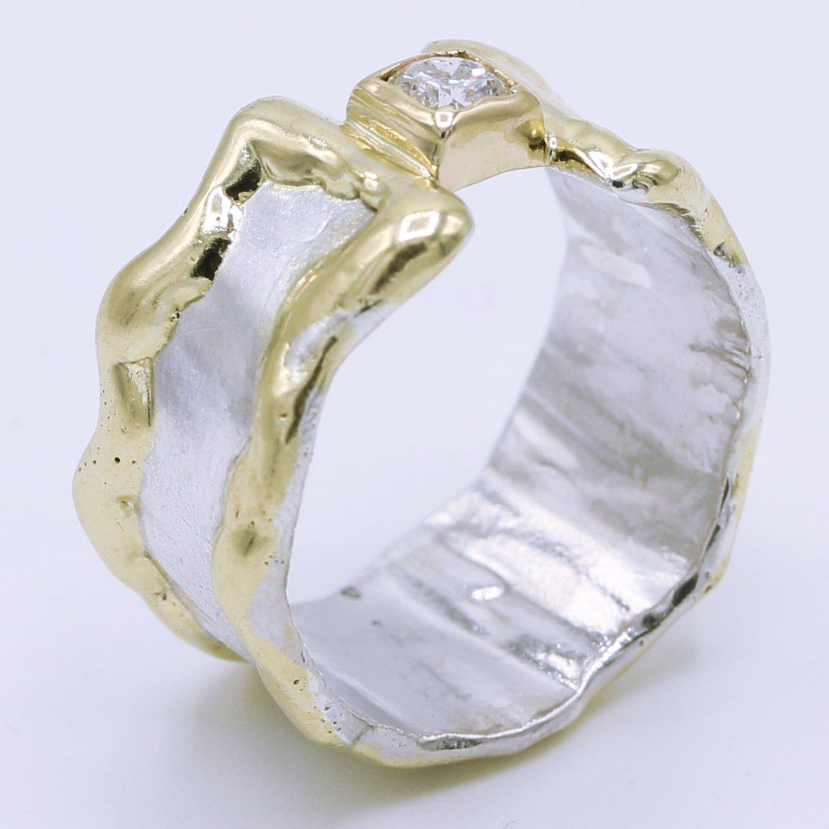 14K Gold & Crystalline Silver Diamond Ring - 34894-Fusion Designs-Renee Taylor Gallery