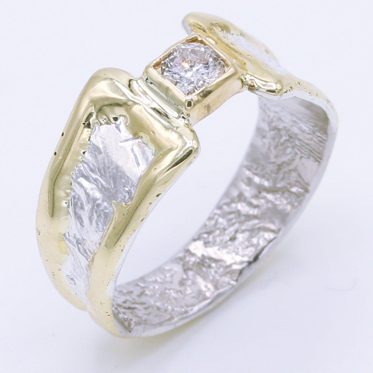 14K Gold & Crystalline Silver Diamond Ring - 34895-Fusion Designs-Renee Taylor Gallery
