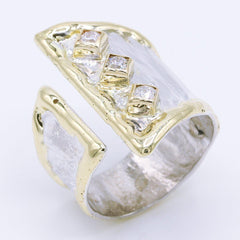 14K Gold & Crystalline Silver Diamond Ring - 34896-Fusion Designs-Renee Taylor Gallery